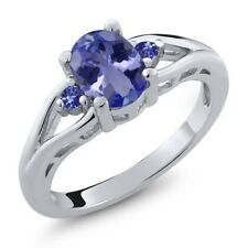 1.24 Ct Oval Blue Tanzanite 925 Sterling Silver Ring