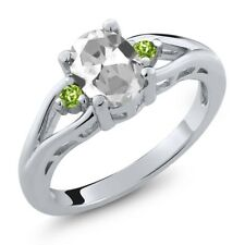 1.40 Ct Oval White Topaz Green Peridot 925 Sterling Silver Ring