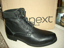NEXT SMART MENS SIZE UK 10 / EU 44 BLACK LEATHER LACE UP BOOTS BRAND NEW IN BOX