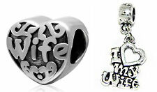 """""""Love Heart My Wife"""" charm bead For Fit European Charm bracelet necklaces"""