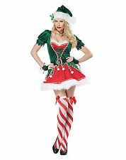 SANTA'S SEXY HELPER CANDY STRIPE ELF FUR CHRISTMAS XMAS HOLIDAY WOMENS COSTUME