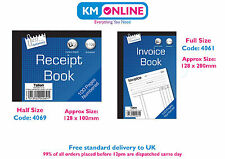 Half Size Receipt Book and Full Size Invoice Book 1-100 Numbered Pages Office
