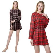 Sweet Womens Check Plaid Shirt Blouse Dress Girls Long Sleeve Mini Dress TQ6T