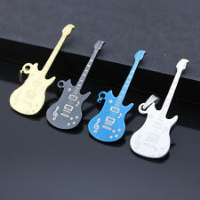 Mens Stainless Steel Music Guitar Pendant Necklace Fashion Jewelry Necklace