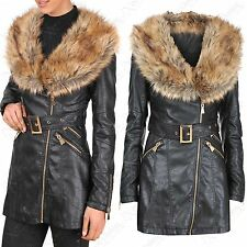 NEW WOMEN LONG BIKER JACKET BLACK PU BROWN FUR COLLAR WINTER LOOK ZIP MIDI COAT