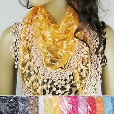 Elegant Women Girls Lace Soft Floral Printed Hollow Triangle Scarf Shawl Gift