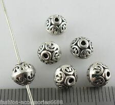 10/40/300pcs Tibetan Silver Round Spacer Beads Crafts Jewelry Findings 6x7mm