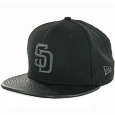 New Era 5950 San Diego Padres Fitted Hat (Black Melton/Pebble Leather) Men's Cap