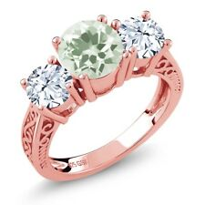 2.10 Ct Green Amethyst White Topaz 18K Rose Gold Plated Silver 3-Stone Ring