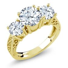 2.90 Ct Round White Topaz 18K Yellow Gold Plated Silver 3-Stone Ring