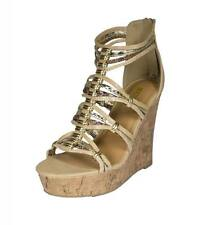 Pam! By Soda Strappy Metal Ringed Platform Cork Wedge Sandal Beige Combo