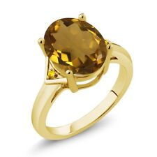 4.02 Ct Oval Whiskey Quartz Yellow Sapphire 18K Yellow Gold Plated Silver Ring