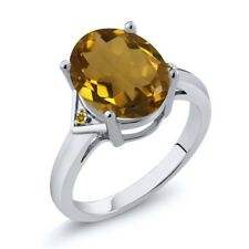 4.02 Ct Oval Whiskey Quartz Yellow Simulated Citrine 925 Sterling Silver Ring
