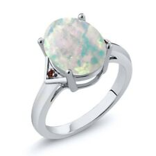 4.02 Ct Oval Cabochon White Simulated Opal Red Garnet 925 Sterling Silver Ring