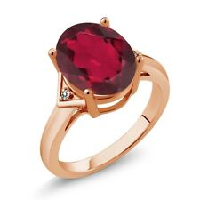 4.01 Ct Oval Ruby Red Mystic Quartz White Diamond 18K Rose Gold Ring
