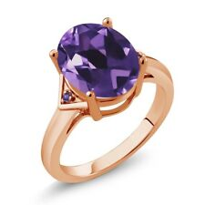 4.01 Ct Oval Purple Amethyst 18K Rose Gold Plated Silver Ring