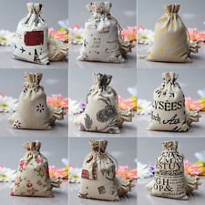 1/5/10X Linen Jute Sack Jewelry Pouch Drawstring Favor Gift Bags Holder 5 Sizes