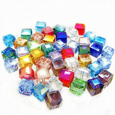 Wholesale 50/100Pcs Crystal Cube Square Loose Spacer Beads Jewelry DIY New 6x6mm