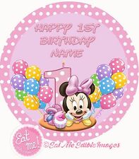 Minnie Mouse Baby 1st Personalised Edible Image REAL Icing Large Cake Topper