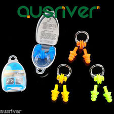 Silicone Soft Diving Swimming Ear Plugs + Nose Clip Set With Box for Kids Adults