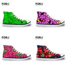 Women's Canvas Sneakes Ladies High Top Casual Flats Lace Up Trainers Sport Shoes