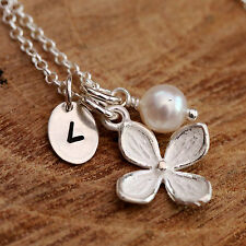 Sterling Silver Orchid Flower Freshwater Pearl Personalised Necklace Birthstone