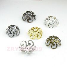 200Pcs Hollow Filigree Bead Caps 10mm Silver/Gold/Bronze/Black etc. R0118