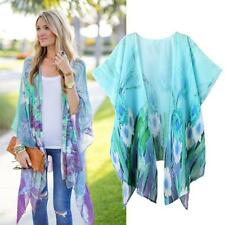 Womens Casual Print Loose Irregular Chiffon Kimono Cardigan Tops Cover up Blouse