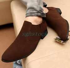 Fashion Mens Faux Suede Breathable Pointy Toe Pull On Shoes Loafers Formal Shoes