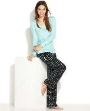Jenni Knit Aqua Top and Black Stars Print Fleece Pant Pajama