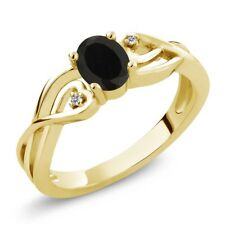 0.40 Ct Oval Black Onyx White Diamond 18K Yellow Gold Plated Silver Ring