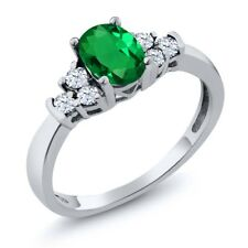0.72 Ct Oval Green Simulated Emerald White Topaz 14K White Gold Ring