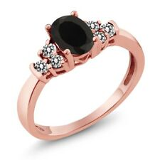 0.65 Ct Oval Black Onyx White Diamond 18K Rose Gold Plated Silver Ring