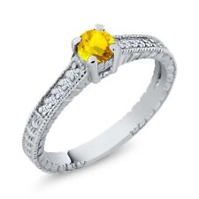 0.48 Ct Round Yellow Sapphire White Created Sapphire 925 Sterling Silver Ring