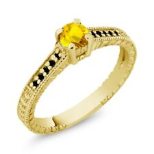 0.48 Ct Round Yellow Sapphire Black Diamond 14K Yellow Gold Engagement Ring