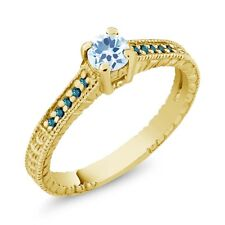 0.45 Ct Round Sky Blue Topaz Blue Diamond 14K Yellow Gold Engagement Ring