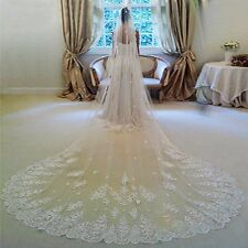 3m White Ivory Elegent Cathedral Length Wedding Bridal Veil With Comb Lace Edge