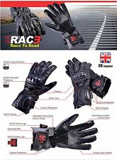 New RAC3 Motorbike Motorcycle Carbon Molded Knuckle Cowhide Leather Gloves