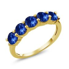 1.20 Ct Blue SI1/SI2 Sapphire 18K Yellow Gold Plated Silver Wedding Band Ring