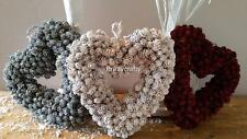 Shabby Chic Antique Mini Pine Cone Hanging Heart Wreath Decoration Wedding