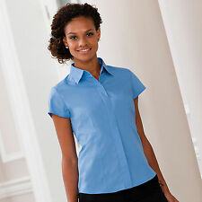 Russell Collection Womens Cap Sleeve Easycare Fitted Poplin Blouse Shirt J925F