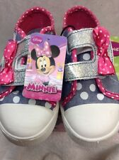 Disney Mickey Mouse Clubhouse Minnie Youth Girls Size 11 Blue Canvas Velcro
