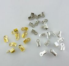 100/500/3000pcs Metal Folding End Crimps Tips Cord Cap Jewelry Findings 9x4mm