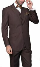 Mens Classic Fit Brown Striped Two Button Three Piece Super 150's Wool Suit