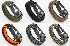 Tactical Survival Paracord Bracelet Wristband Military Army Emergency Gear Kit
