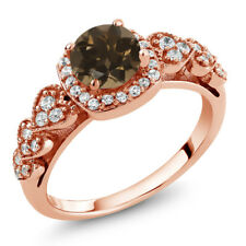1.12 Ct Round Brown Smoky Quartz 18K Rose Gold Plated Silver Ring