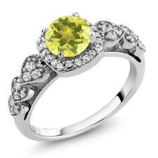 1.32 Ct Round Canary Mystic Topaz 925 Sterling Silver Ring