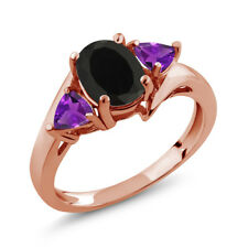 1.67 Ct Oval Black Onyx Purple Amethyst 18K Rose Gold Plated Silver Ring