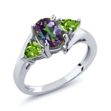 1.82 Ct Oval Green Mystic Topaz Green Peridot 925 Sterling Silver Ring