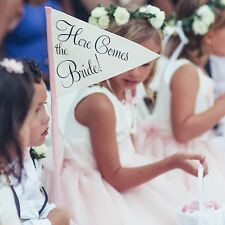 Here Comes The Bride Wedding Sign Handmade Small Flower Girl Ring Bearer Banner
